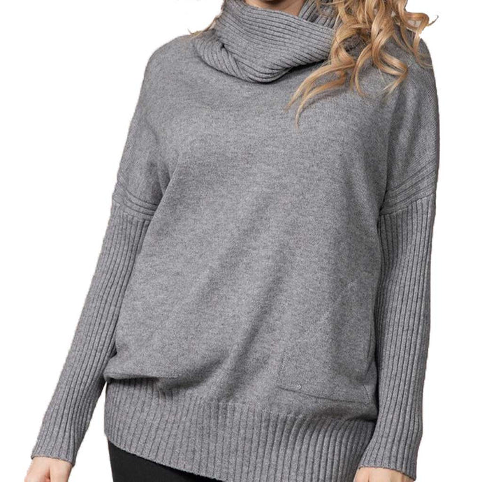 Rain + Rose Cowl Neck Sweater Gray