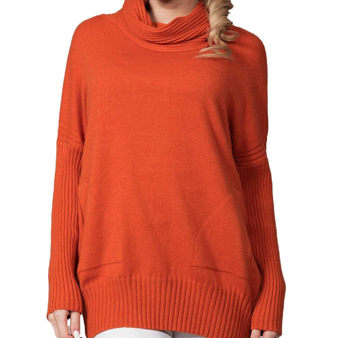 Rain + Rose Cowl Neck Sweater Orange