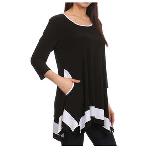 SB Collection Hem Tunic BK WT - Simply Bella