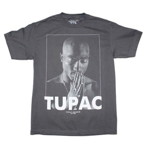 Tupac Praying Charcoal T-Shirt