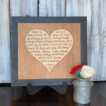 "Load image into Gallery viewer, 1 Corinthians 13 ""Love is"" Wooden Sign"