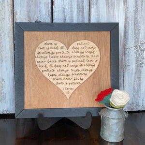 "1 Corinthians 13 ""Love is"" Wooden Sign"