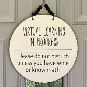 Virtual Learning in Progress 12 inch beaded door hanger