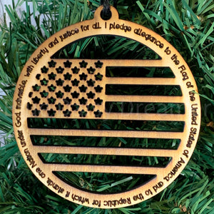 I Pledge Allegiance to the Flag Wooden Ornament