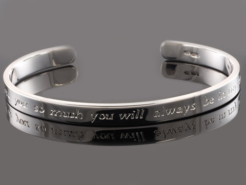 Hand Engraved Times Italic Sterling Silver 6mm Cuff Bracelet