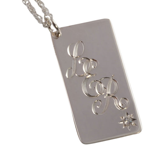 Entwined Script Hand Engraved Initials Sterling Silver Pendant