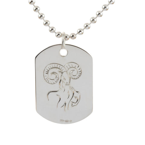 Engraved Aries Sterling Silver Dog Tag Necklace