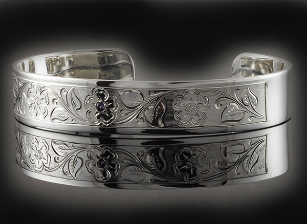 Hand Engraved Flower and Leaf Design With Amethyst Stone Silver Cuff Bracelet