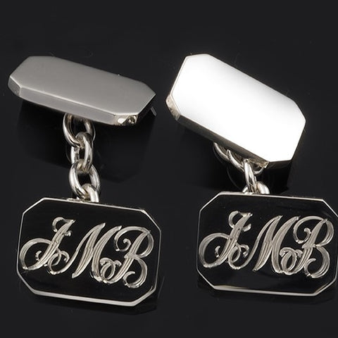 Hand Engraved Entwined Script Sterling Silver Cufflinks