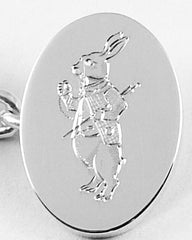 Alice in Wonderland White Rabbit Hand Engraved on Cufflinks