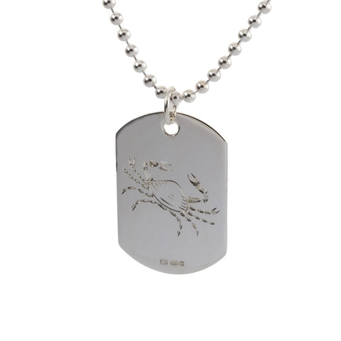 engraved sterling silver cancer zodiac sign mens dog tag