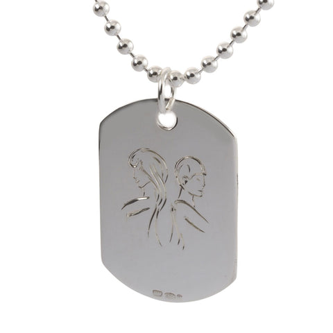 engraved sterling silver gemini mens dog tag necklace