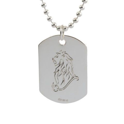 Engraved Leo Star Sign Sterling Silver Mens Dog Tag Necklace