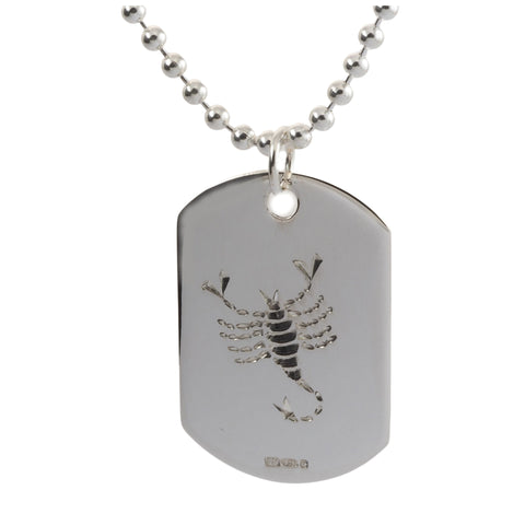 Engraved sterling silver scorpio mens dog tag