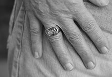 sterling silver signet ring old english hand engraved initials