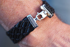 sterling silver black leather mens bracelet engraved end caps