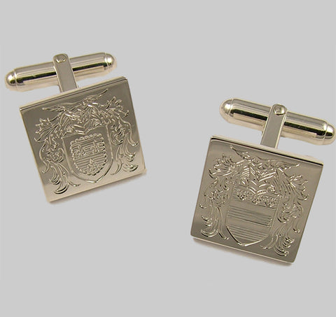 Hand engraved crest on sterling silver square cufflinks