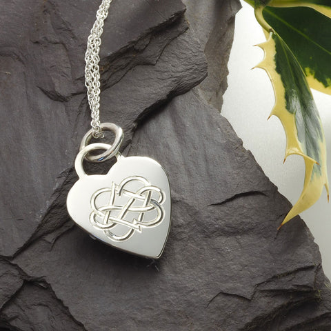 Hand Engraved sterling silver heart necklace, double heart infinity symbol