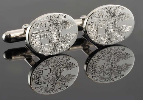 Hand Engraved Crest on Sterling Silver Oval Cufflinks