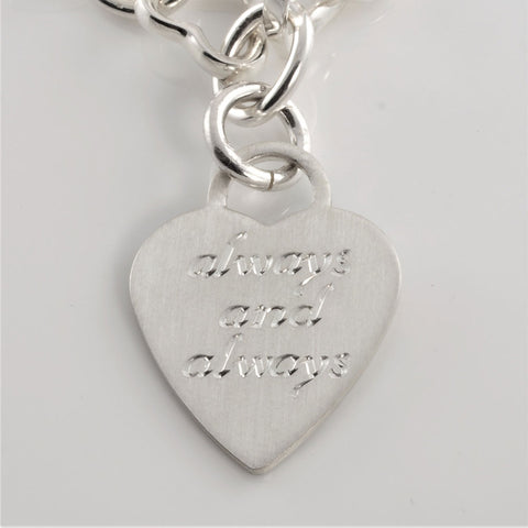 Le Griffe Hand Engraving Sterling Silver Heart Necklace