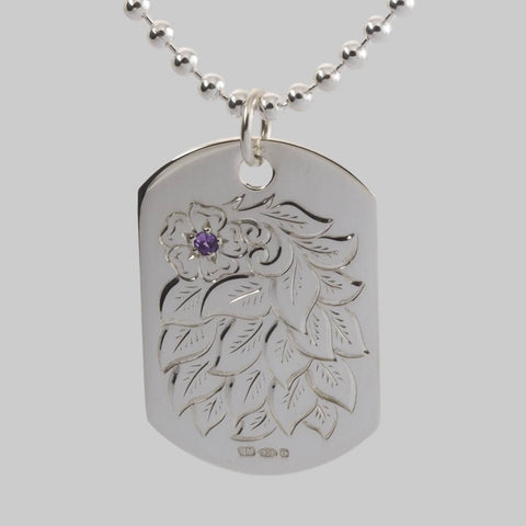Hand Engraved Flower and Amethyst Dog Tag