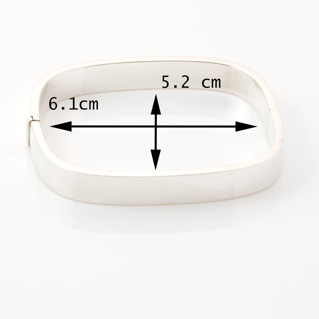 Measurements of engravable 9mm Plain Sterling Silver TV Square Edge Bangle