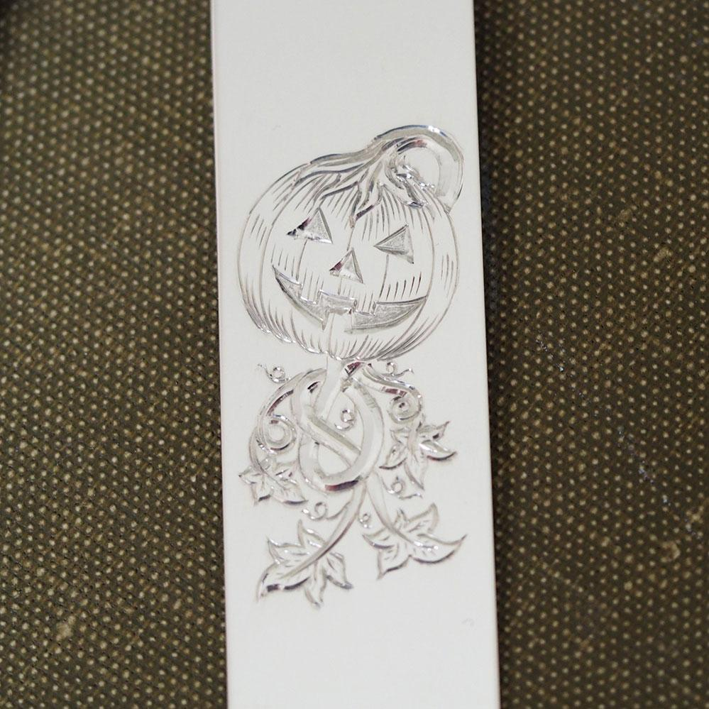 Engraved Halloween Pumpkin Sterling Silver Bookmark