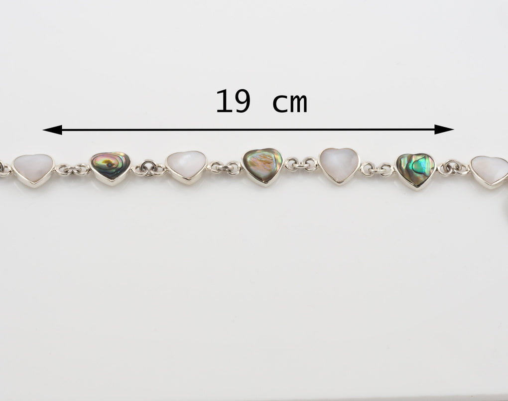 Sterling Silver Abalone Heart Bracelet Personalised Heart Measurements