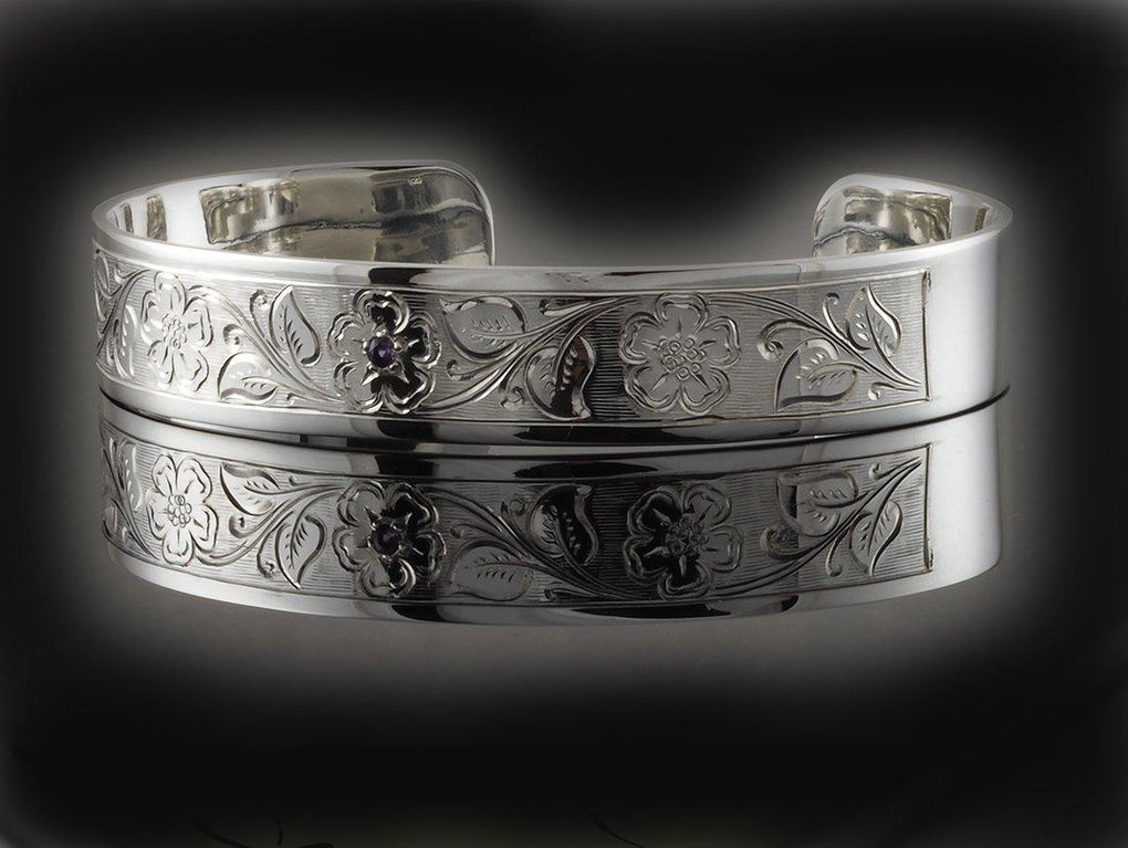 Hand Engraved Flower and Leaf Design Sterling Silver Cuff Bangle