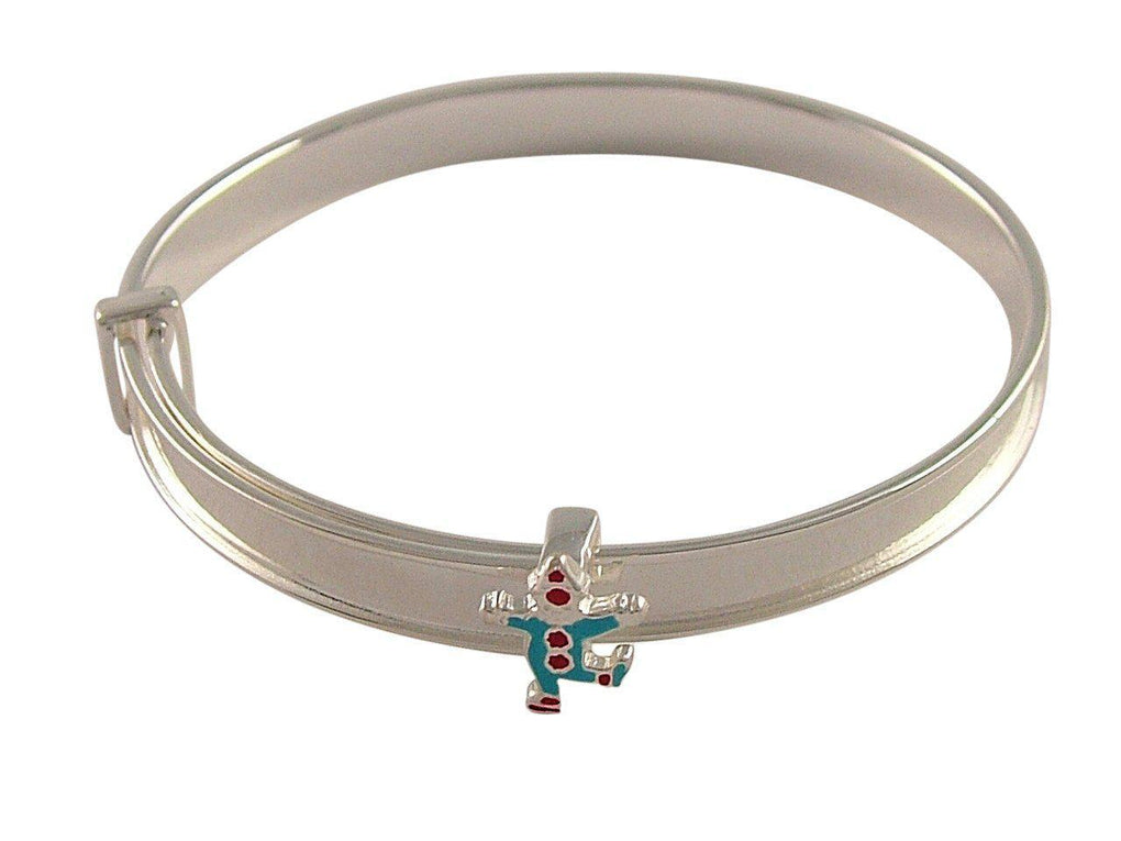 Personalised Hand Engraved Sterling Silver Clown Baby Bangle - 1