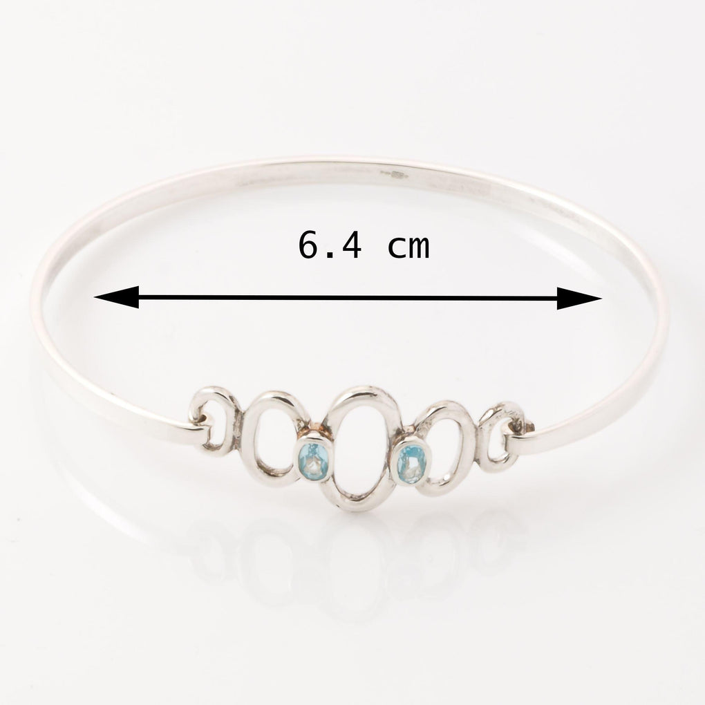 Personalised Bangle Blue Topaz measurements