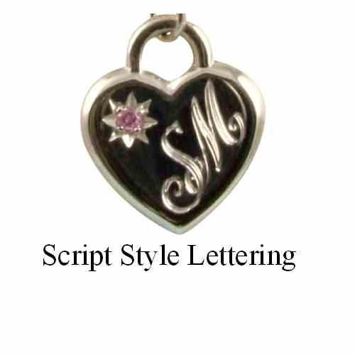 Personalised Sterling Silver Childs CZ Heart Necklace Hand Engraved - 2