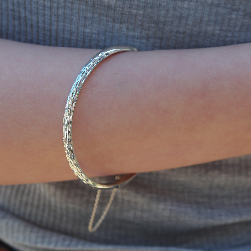 Diamond Cut Sterling Silver Bangle on model