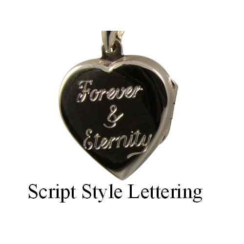 Personalised Sterling Silver Heart Locket Hand Engraved Front or Back - 2