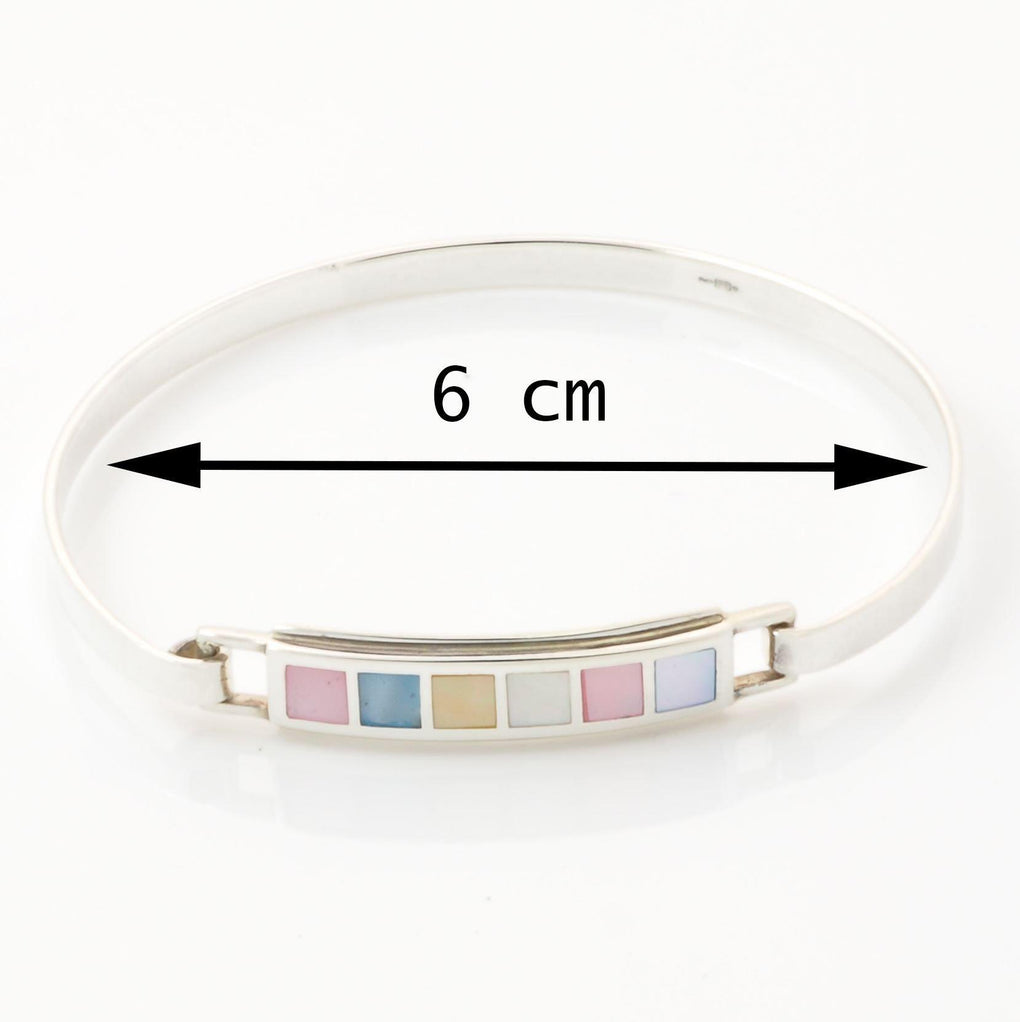 Personalised Multi Colour Mother of Pearl Bangle measurements