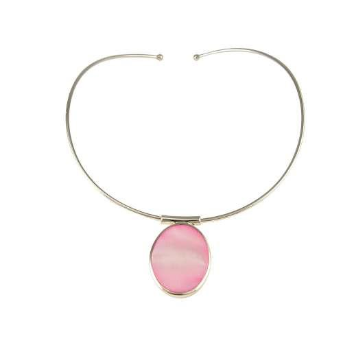 Personalised Sterling Silver Pink Mother Of Pearl Choker Hand Engraved