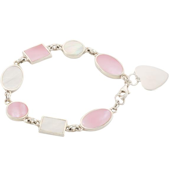 Reversible Pink and White Mother of Pearl Heart Bracelet Personalised