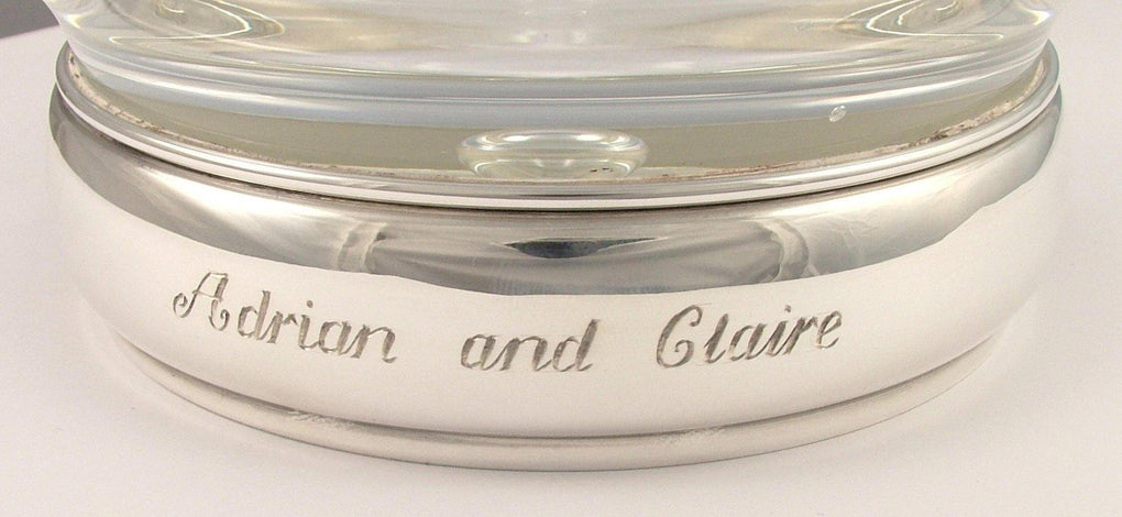 Sterling Silver and Krosno Hand Blown Glass Tankard Hand Engraved Personalised - 2