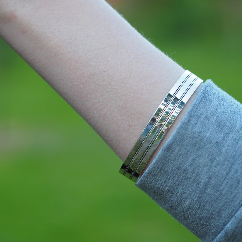 Sterling Silver Beaded Cuff Bangle on model