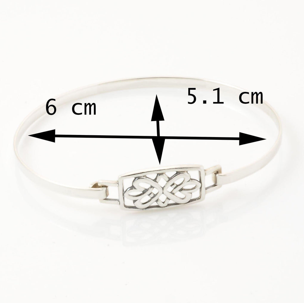 measurements of sterling silver flower bangle