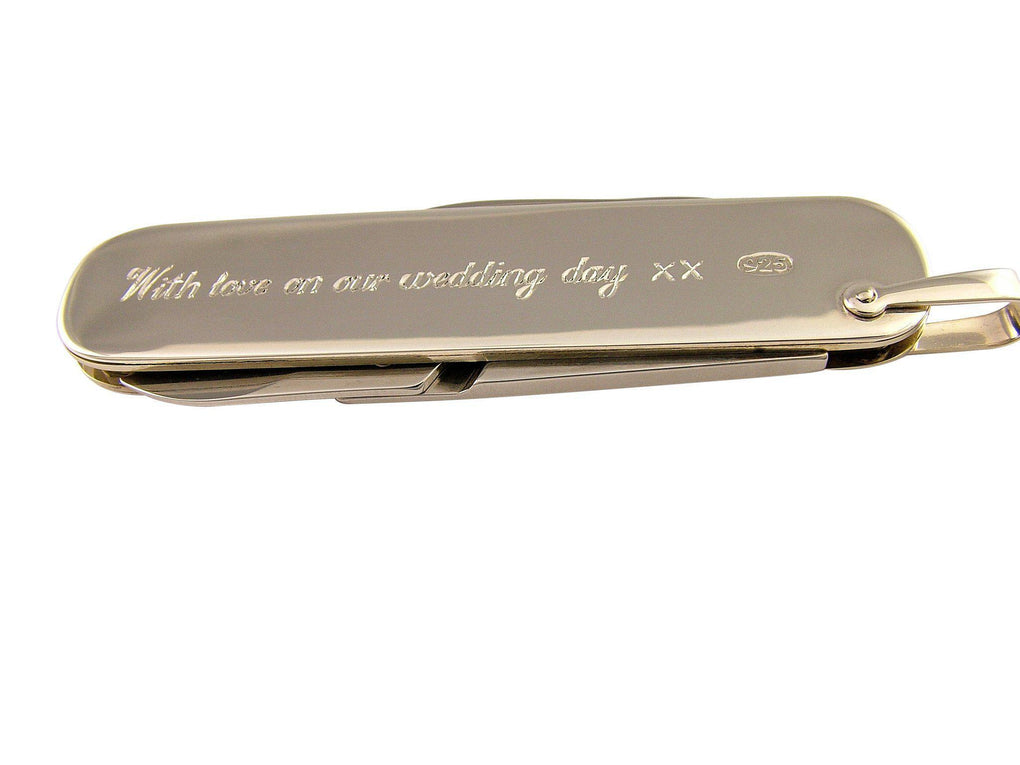 Sterling Silver Hallmarked Penknife with Scissors Hand Engraved Personalised - 3