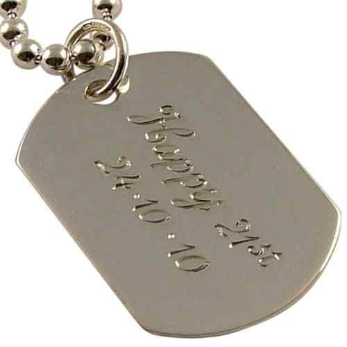 Sterling Silver Mens Single Dog Tag Personalised Hand Engraved - 1