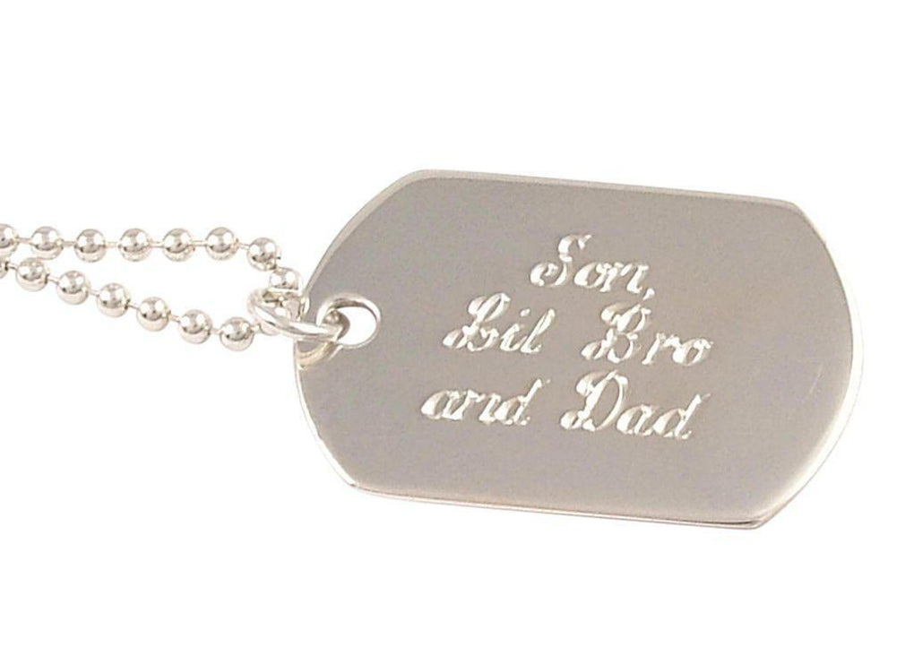 Sterling Silver Mens Single Dog Tag Personalised Hand Engraved - 2