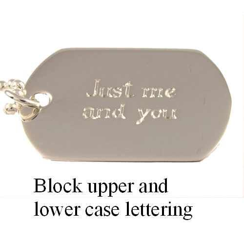 Sterling Silver Mens Single Dog Tag Personalised Hand Engraved - 3