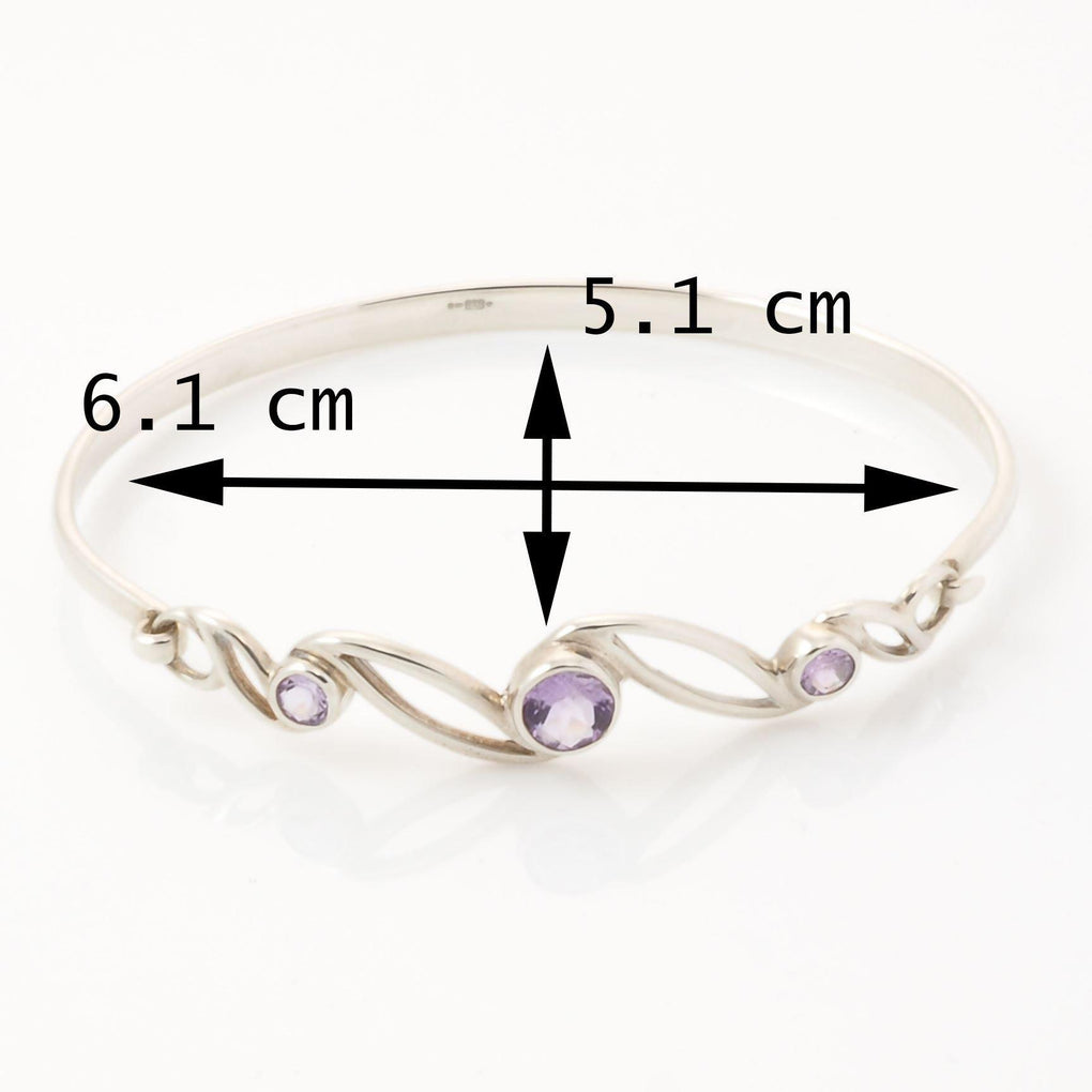 Sterling Silver Amethyst Bangle measurements