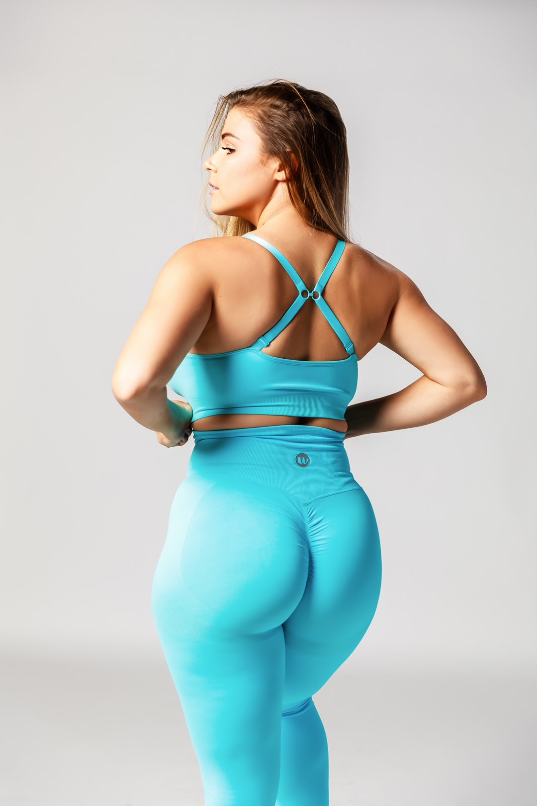 Seamless High Waisted Scrunch Bum Leggings - Miami Blue