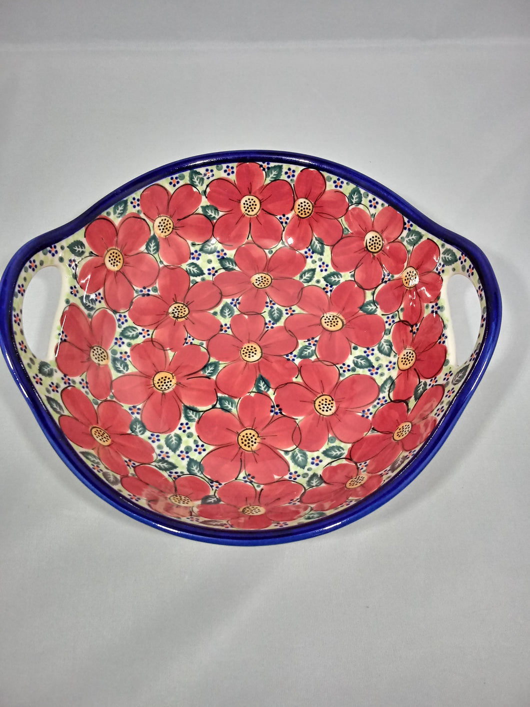 Medium Bowl with Handles - Red Poppy