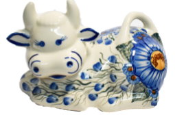 Cow Shaped Butter Dish - Blue Flower