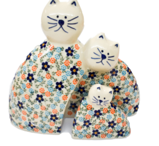 Cat Family Orange Floral