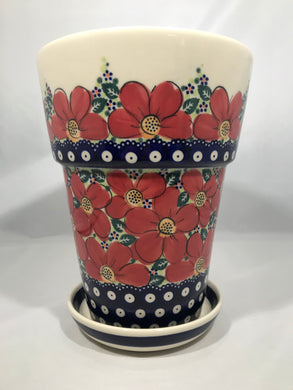 Tall Flower Pot - Red Poppy